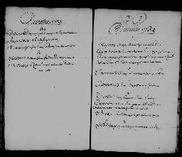 Liste chronologique des actes pour la période du 1er janvier au 30 décembre 1734