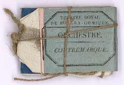 Planche de billets d'entrée du théâtre de l'Opéra Comique